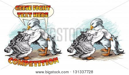 Vector illustration of geese fight competition logo design.