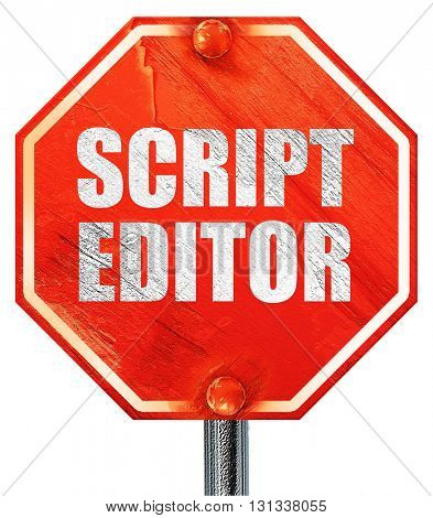 script editor, 3D rendering, a red stop sign