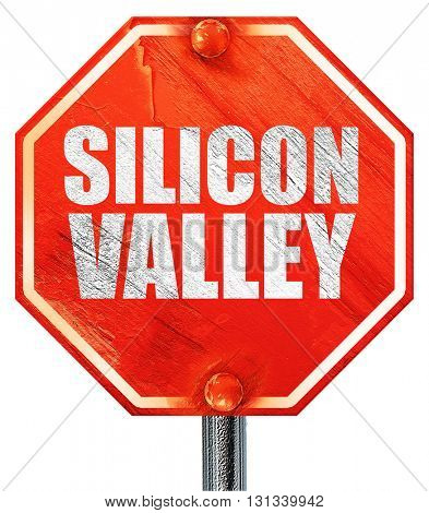 silicon valley, 3D rendering, a red stop sign