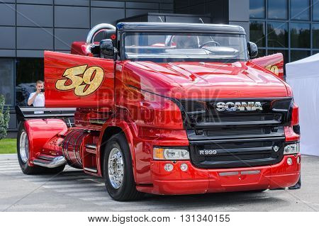 KIEV,UKRAINE - May,21: Red Pearl  Scania R999 by Svempas Customs during the celebration of 125 anniversary of Scania company in Kiev,Ukraine May 21,2016.