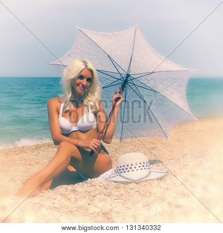 Beautiful Woman On The Beach. Vintage Postcard.