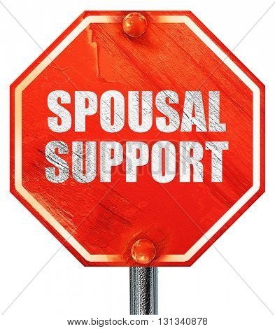 spousal support, 3D rendering, a red stop sign