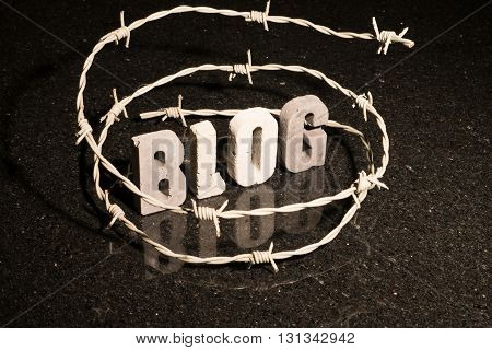 Conceptual or abstract illustration of restricted freedom of speech on blog such as censorship oppression or blacklist.