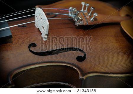 Detail of violin on dark background closeup