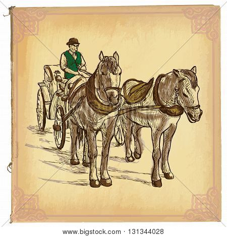 An hand drawn vector illustration colored line art. HORSES and CART. Freehand sketch of an teamster on horse drawn carriage. Hand drawings are editable in groups. Colored paper is isolated.