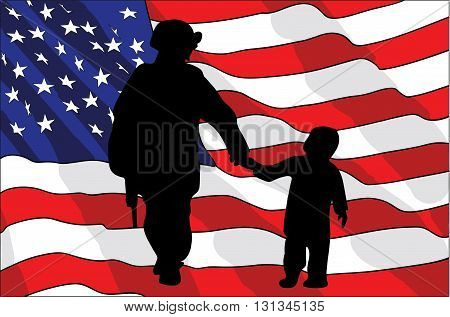 Veterans Day. An American soldier and a child. American flag. vector illustration