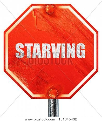starving, 3D rendering, a red stop sign