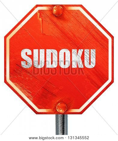 Sudoku, 3D rendering, a red stop sign