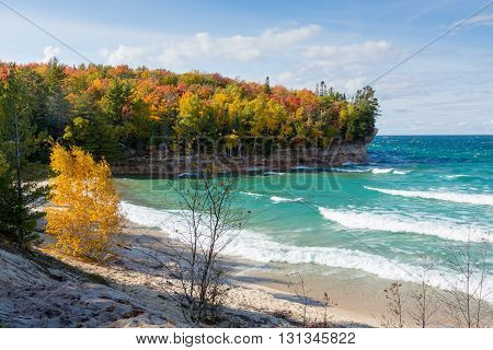 Chapel Beach at Pictured Rocks National Lakeshore along the coast of Lake Superior near Munising Michigan