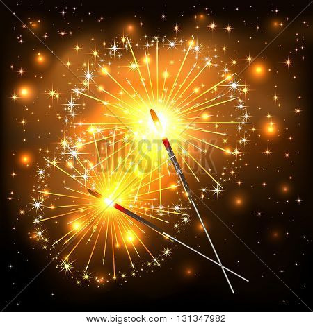 New Years background with burning sparklers, two glowing sparklers with golden sparks on dark background, sparkling Bengal lights, illustration.
