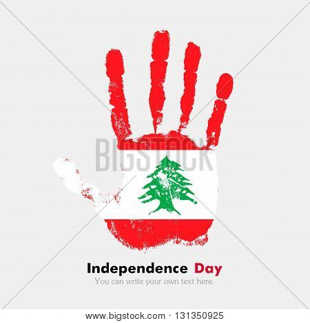 Hand print, which bears the Flag of Lebanon. Independence Day. Grunge style. Grungy hand print with the flag. Hand print and five fingers. Used as an icon, card, greeting, printed materials.