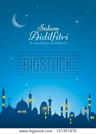 Ramadan background with silhouette mosque. Wide copy space for text. Salam Aidilfitri means celebration day. Maaf zahir dan batin means please forgive (me) outwardly and internally.