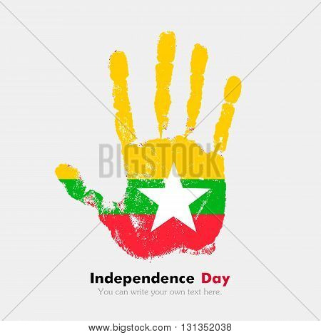 Hand print, which bears the Flag of Myanmar. Independence Day. Grunge style. Grungy hand print with the flag. Hand print and five fingers. Used as an icon, card, greeting, printed materials.