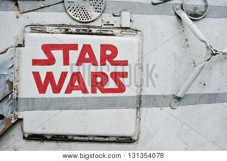 Podol, Ukraine - May 19, 2016: Star Wars Logo On Flying Space Machine