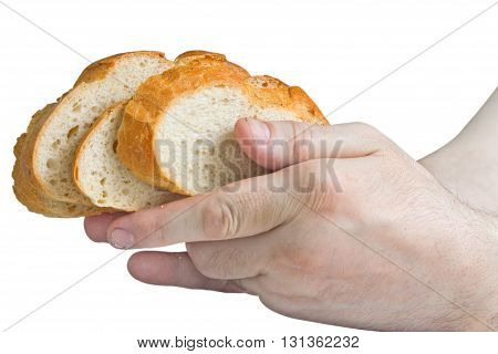 Man holding white bread slices in his hands isolated on white background