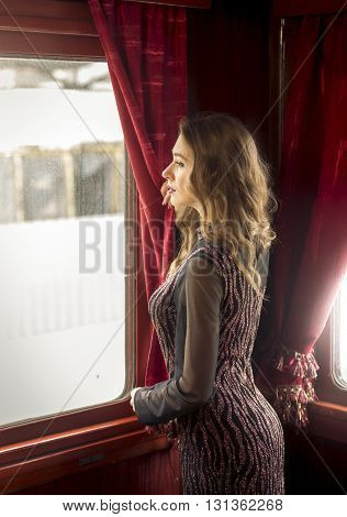 Rear view of sexy woman in long dress looking out of train window