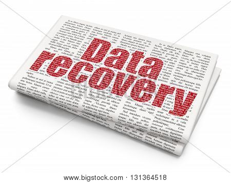 Data concept: Pixelated red text Data Recovery on Newspaper background, 3D rendering
