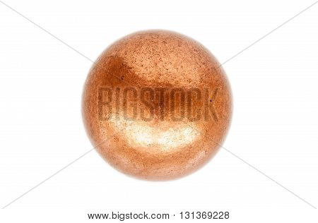 Rounded metal ball made of melted copper isolated on white background