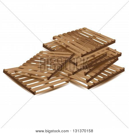 Wooden pallets to transport and freight transport isolated on white background. Wooden pallets in perspective.