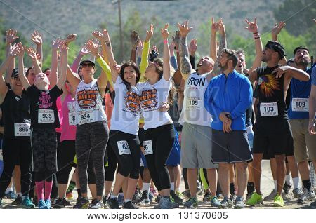 Acton, California-May 21 2016: People in the Hot and Dirty Mud Run