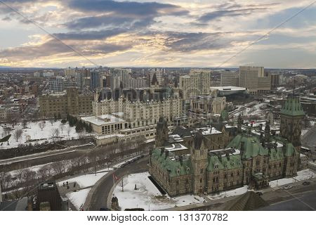 Ottawa, Canada - February 05, 2016: View From The Top Of The Tower At The Parliament Of Canada, Parl