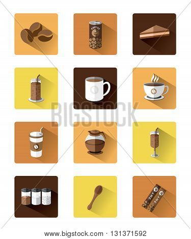 Modern flat Coffee icons set with long shadow effect.