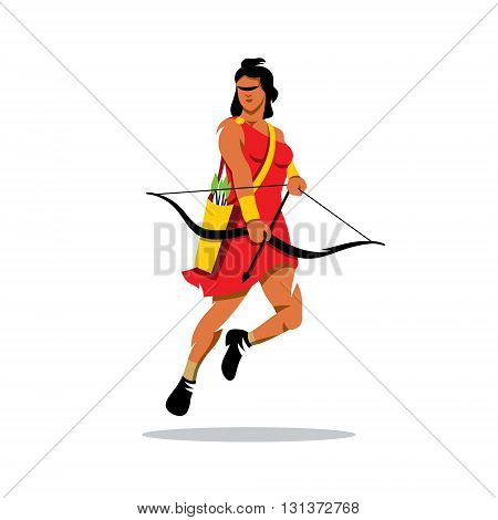 Woman hunter with a bow and a quiver of arrows. Isolated on a white background