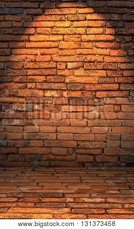 Low Key Photo Of Red Brick Wall With Lighting Effect.