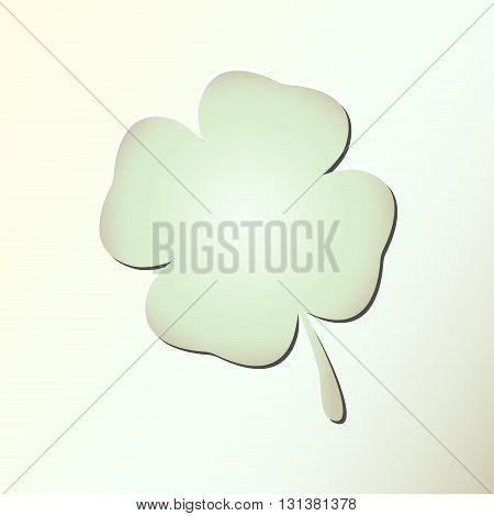 Four leaf clover symbol on the light background. Shamrock leaf. Vector shamrock icon, Clover leaf icon.