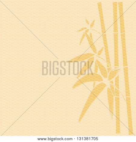 Bamboo painting on a textured background, vector, eps 10. Bamboo stem and leaves. Bamboo sketch style.
