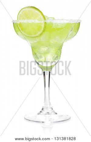 Classic margarita cocktail with salty rim. Isolated on white background