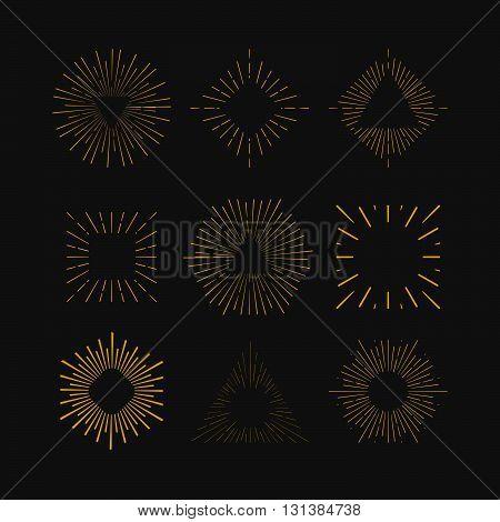 Retro Sun burst shapes. Vintage starburst logo labels badges. Sunburst minimal logo frames. Vector firework design elements isolated. Sun burst light logo. Minimal vintage gold firework burst.