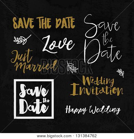 Save The Date Wedding invitation labels. Save The Date lettering. Save the date templates wedding invitation with hand drawn lettering Isolated. Save the date template. Vector Save the date card.