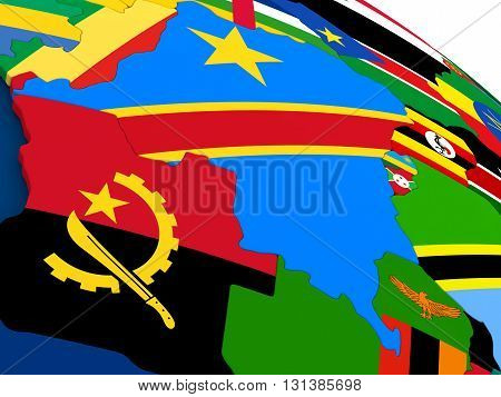 Democratic Republic Of Congo On Globe With Flags