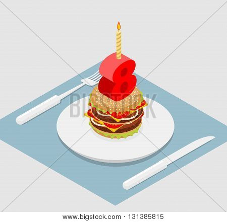 Birthday 8 Years Old Burger. Hamburger And Candle Isometrics. Figure Eight With Candle. Fast Food An