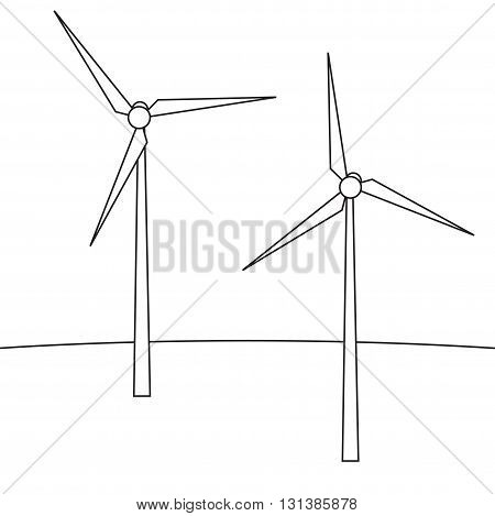 Wind turbines. A device for producing electricity. Wind turbines in the style of the line. Vector illustration.