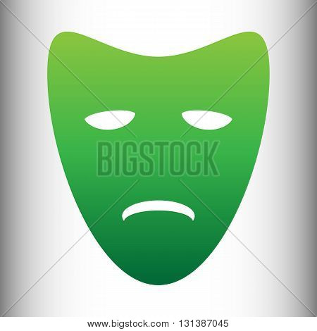 Tragedy theatrical masks. Green gradient icon on gray gradient backround.