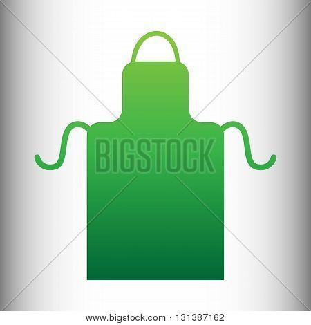 Apron simple icon. Green gradient icon on gray gradient backround.