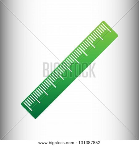 Centimeter ruler sign. Green gradient icon on gray gradient backround.