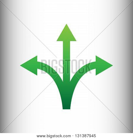 Three-way direction arrow sign. Green gradient icon on gray gradient backround.