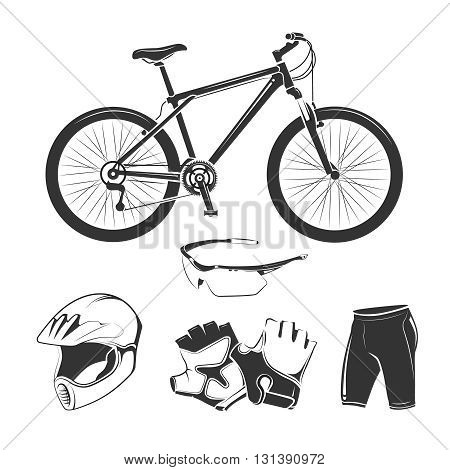 Vector elements for bicycle or bike shop. Bike travel and bicycle transport design elements