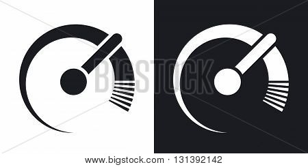 Vector speedometer icon. Two-tone version on black and white background