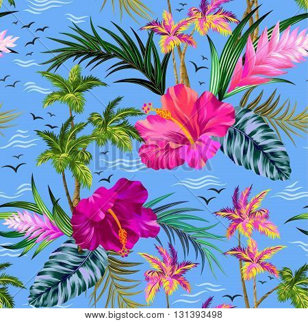 vintage style aloha shirt vector seamless tropical pattern with palm trees, flowers, sea and waves, and see gulls. beautiful illustration with allover layout.