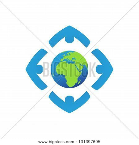 People around globe holding each other hand vector illustration isolated on white background.