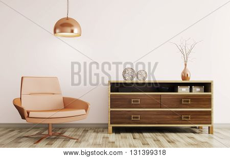 Modern Interior Of Living Room With Wooden Dresser And Recliner Chair 3D Rendering