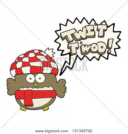 freehand drawn speech bubble cartoon cute owl saying twit twoo
