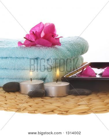 Azalea,Candle And Blue Towel On Mat