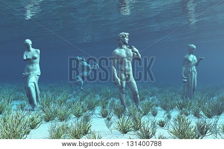 Computer generated 3D illustration with sculptures underwater