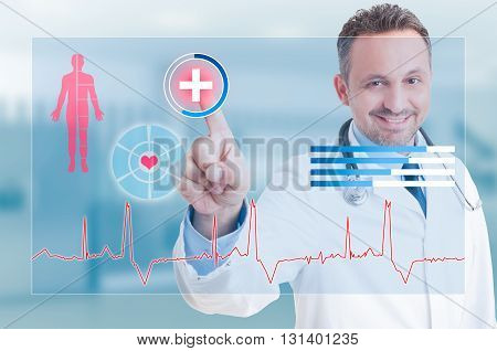 Happy Smiling Medic Touching Medical Safety Cross