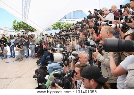 CANNES, FRANCE - MAY 21: Photographers attends 'The Salesman (Forushande)' Photocall during the 69th annual Cannes Festival at the Palais des Festivals on May 21, 2016 in Cannes, France.